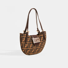 Load image into Gallery viewer, FENDI Vintage Round Zucca Print Shoulder Bag in Brown - Side View
