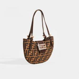 FENDI Vintage Round Zucca Print Shoulder Bag in Brown - Side View
