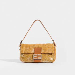 FENDI Vintage Baguette Bag in Gold Sequins with Tan Leather Trim