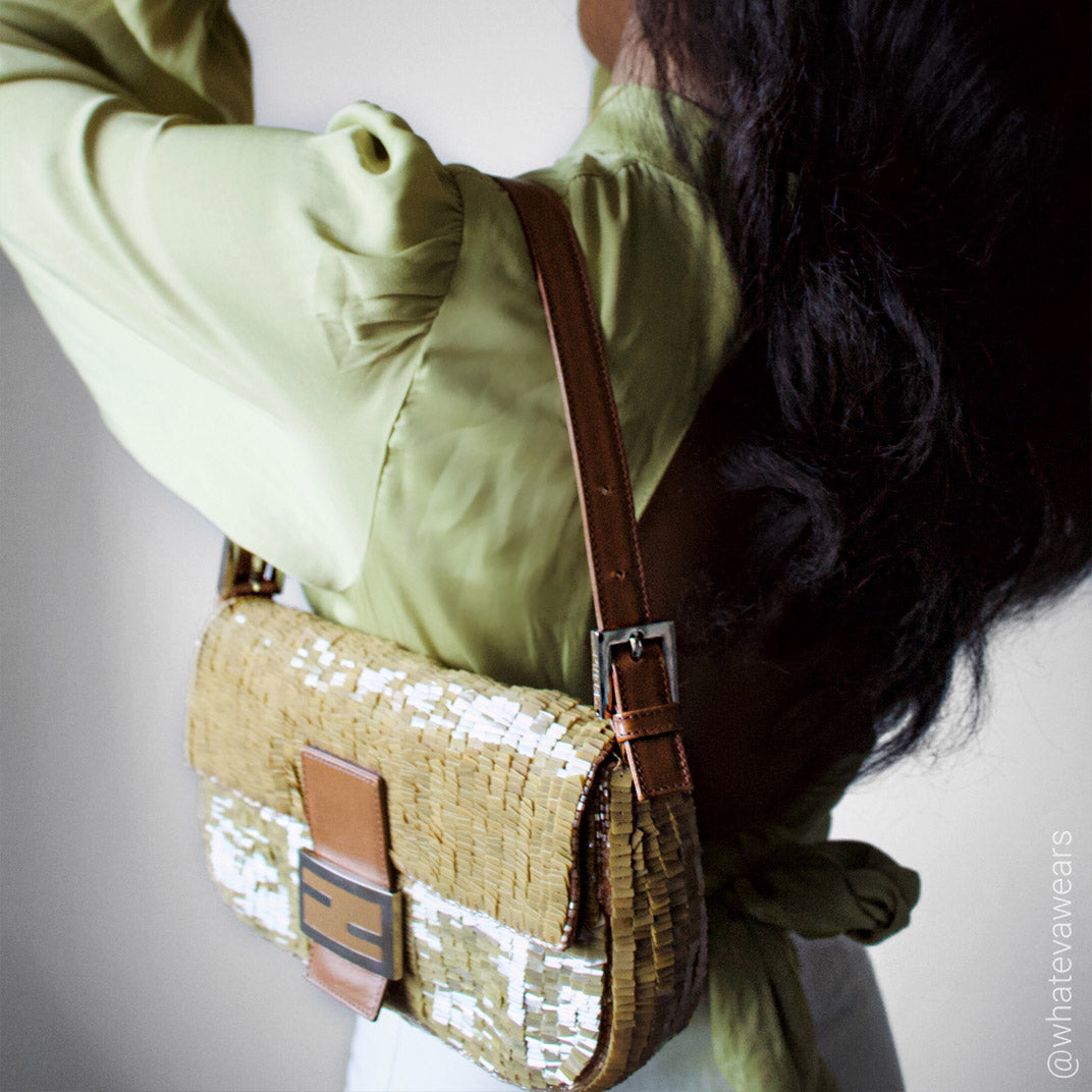 FENDI Vintage Sequin Baguette in Gold