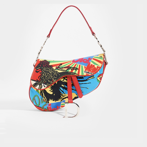 DIOR Vintage Rasta Mania Saddle Bag in Multicolour Canvas & Red Calfskin Leather