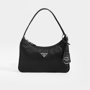 PRADA Hobo Bag in Black Nylon With Prada Logo on Front and Re-Issue Tag