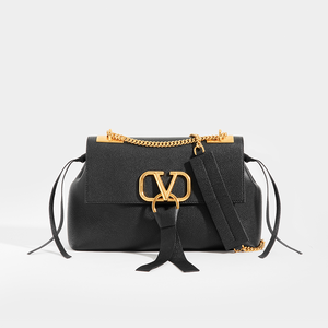 VALENTINO Garavani VRING Small Shoulder Bag in Black Leather