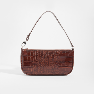 BY FAR Rachel Croc Embossed Bag in Brown Leather (Nutella)