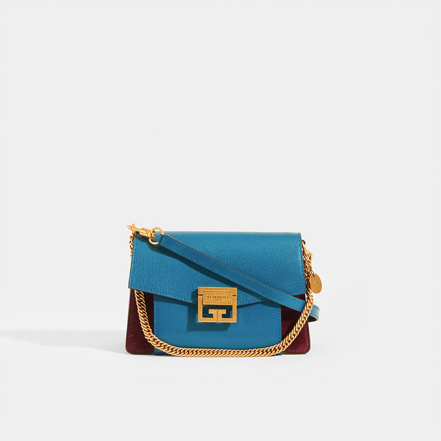 GIVENCHY GV3 Small Bag in Blue and Aubergine Leather and Suede With Leather Strap and Gold Metal Short Strap