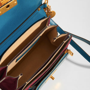 GIVENCHY GV3 Small Bag in Blue and Aubergine Leather and Suede