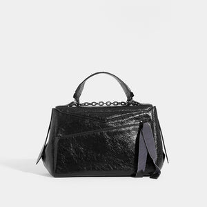Back of GIVENCHY ID Medium Quilted Glossed-Leather Shoulder Bag
