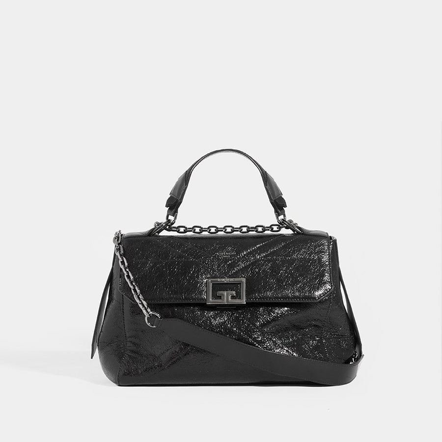 Front view of GIVENCHY ID Medium Quilted Glossed-Leather Shoulder Bag with shoulder strap and top handle