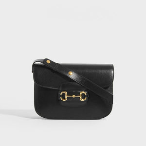 GUCCI 1955 Horsebit Shoulder Bag in Black Leather