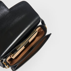 Interior of GUCCI 1955 Horsebit Shoulder Bag in Black Leather