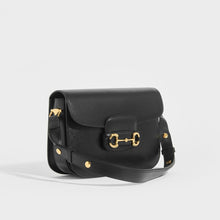 Load image into Gallery viewer, Side view of the GUCCI 1955 Horsebit Shoulder Bag in Black Leather