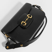 Load image into Gallery viewer, Top detail of GUCCI 1955 Horsebit Shoulder Bag in Black Leather with strap