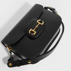 Top detail of GUCCI 1955 Horsebit Shoulder Bag in Black Leather with strap