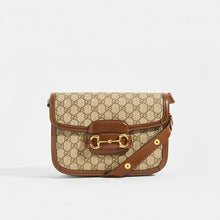 Load image into Gallery viewer, The GUCCI 1955 Horsebit Shoulder Bag in Canvas with Brown Leather Trim With Gold 'Horsebit' Hardware and Adjustable strap