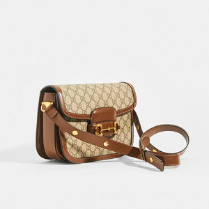 GUCCI 1955 Horsebit Shoulder Bag in Canvas - Side View
