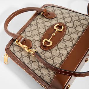 GUCCI 1955 Horsebit Small Top Handle Bag with strap