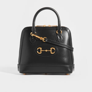 GUCCI 1955 Horsebit Small Top Handle Bag in Black Leather with gold hardware