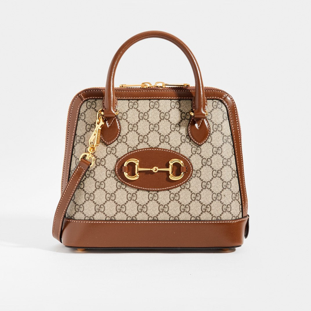 GUCCI 1955 Horsebit Small Top Handle Bag In Brown Coated Canvas with Shoulder Strap