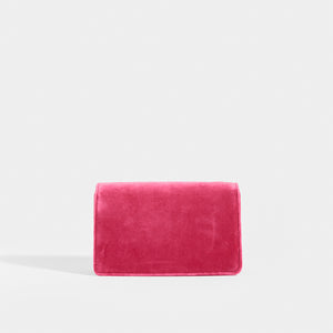GUCCI Broadway Square Velvet Crystal Clutch in Pink