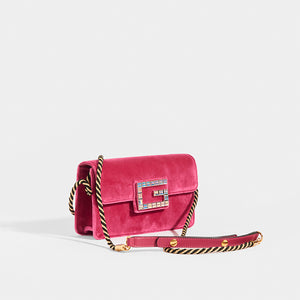 Side view of GUCCI Broadway Square Velvet Crystal Clutch in Pink with strap