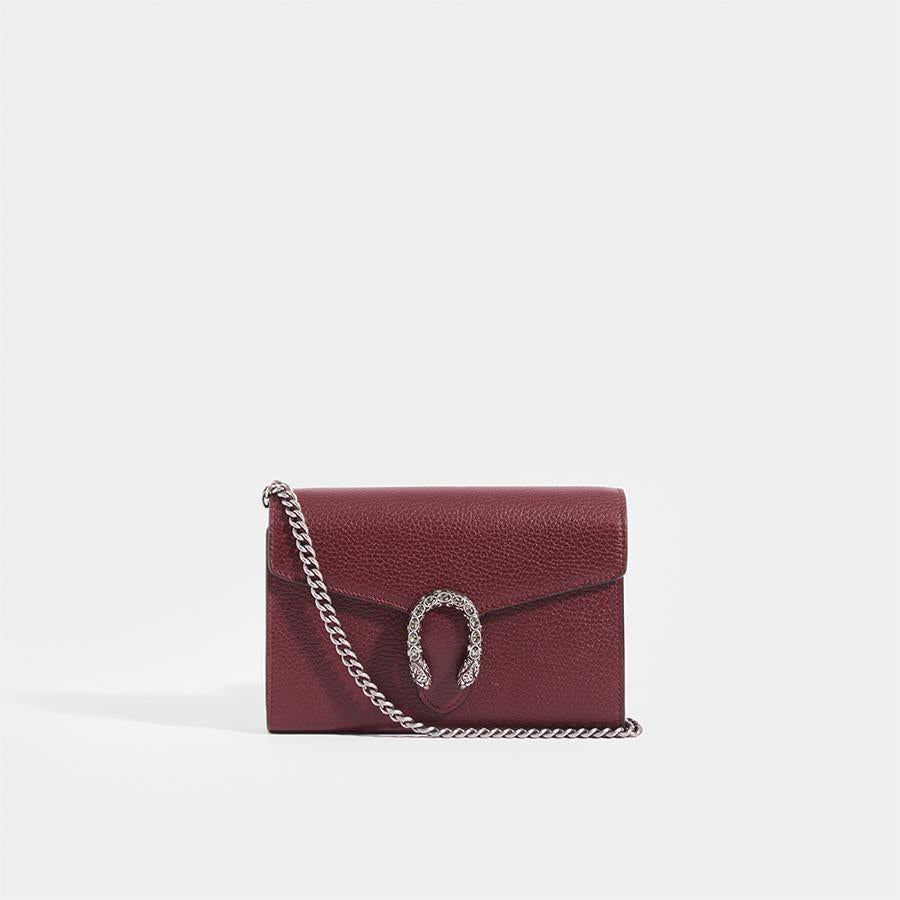 GUCCI Dionysus Small Wallet on Chain with Burgundy Leather