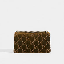 Load image into Gallery viewer, Rear of GUCCI Dionysus Velvet GG Handbag in Dark Green