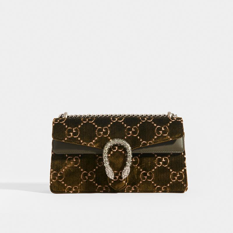 GUCCI Dionysus Velvet GG Handbag in Dark Green
