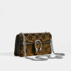 GUCCI Dionysus Velvet GG Handbag in Dark Green with metal chain