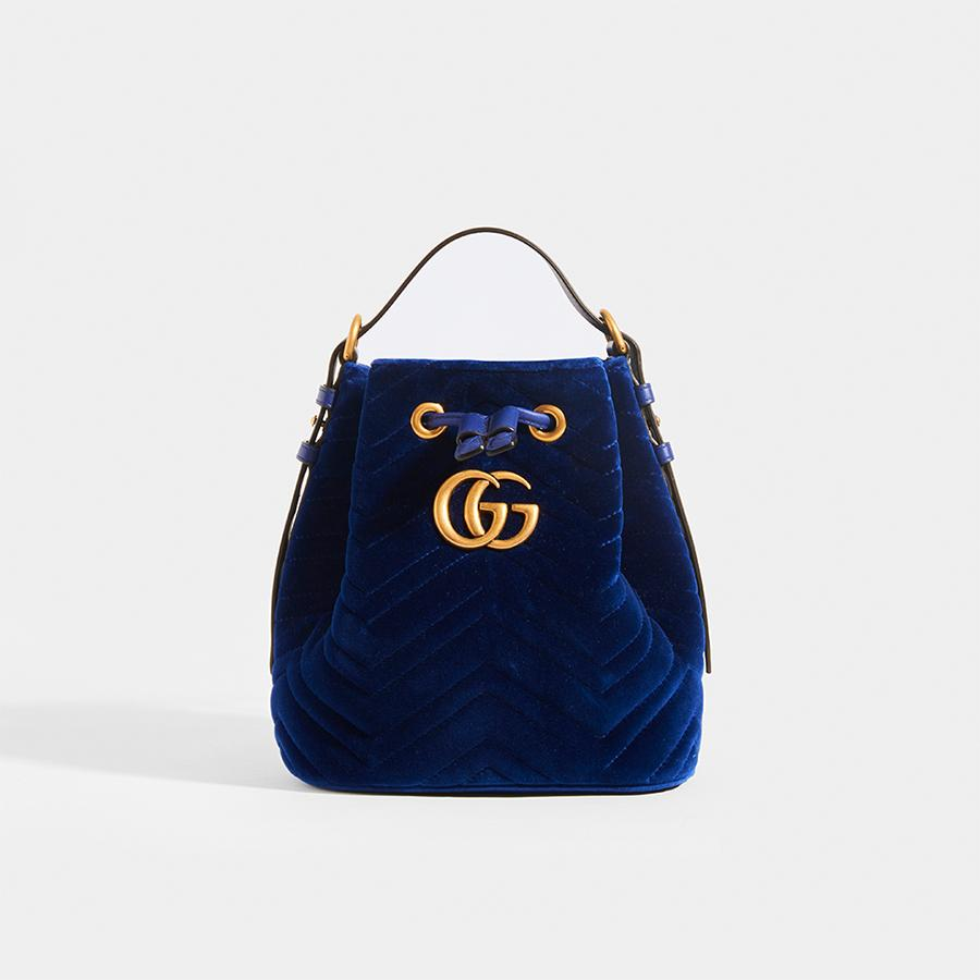 GUCCI GG Marmont Bucket Bag in Dark Blue Velvet