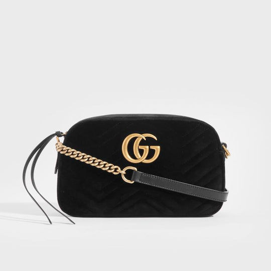 GUCCI GG Marmont Camera Bag in Black Velvet
