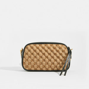 GUCCI GG Marmont Logo Small Shoulder Bag in Canvas and Black Leather - Rear View