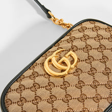 Load image into Gallery viewer, GUCCI GG Marmont Logo Small Shoulder Bag in Canvas and Black Leather - Close Up View