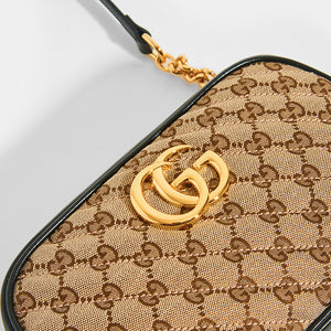 GUCCI GG Marmont Logo Small Shoulder Bag in Canvas and Black Leather - Close Up View