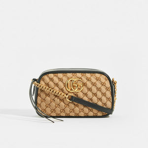 GUCCI GG Marmont Logo Small Shoulder Bag in Canvas and Black Leather