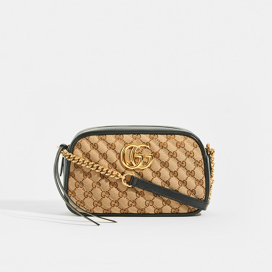 GUCCI GG Marmont Logo Small Shoulder Bag in Canvas and Black Leather - Front View