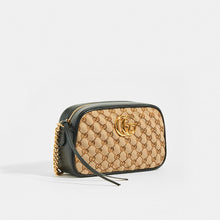 Load image into Gallery viewer, GUCCI GG Marmont Logo Small Shoulder Bag in Canvas and Black Leather