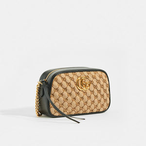 GUCCI GG Marmont Logo Small Shoulder Bag in Canvas and Black Leather - Side View