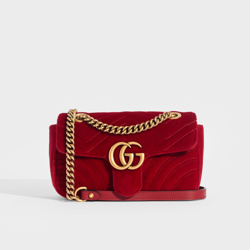 GUCCI GG Marmont Mini Velvet Shoulder Bag in Red