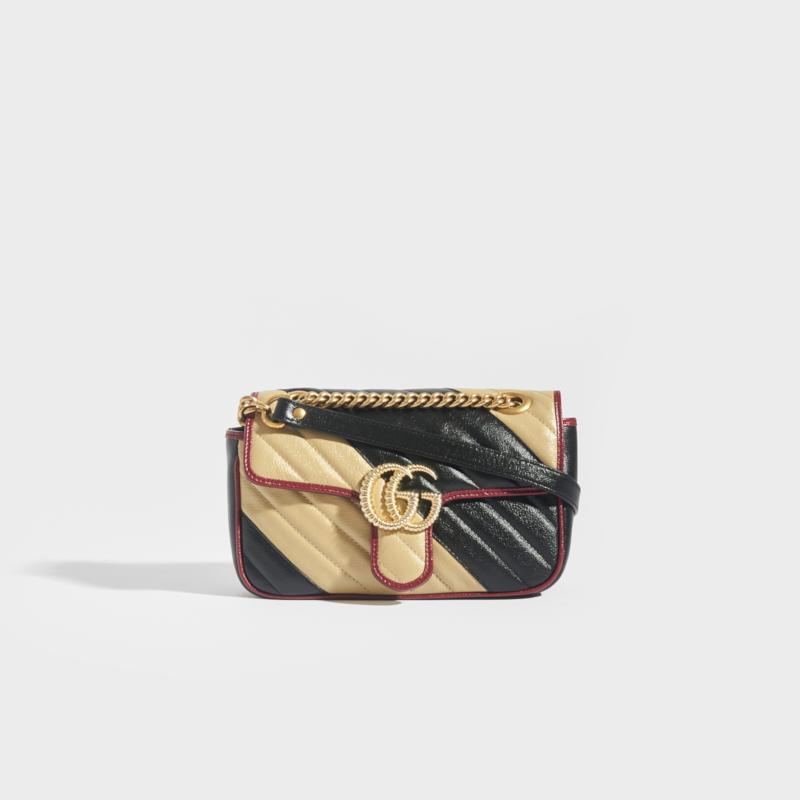 GUCCI GG Marmont Mini Shoulder Bag Quilted Leather in Nude and Black with Red Trim and gold chain shoulder strap