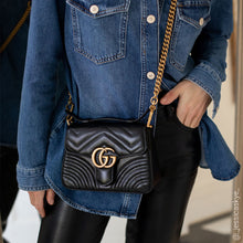Load image into Gallery viewer, GUCCI GG Marmont Mini Top Handle Bag in Quilted Black Leather