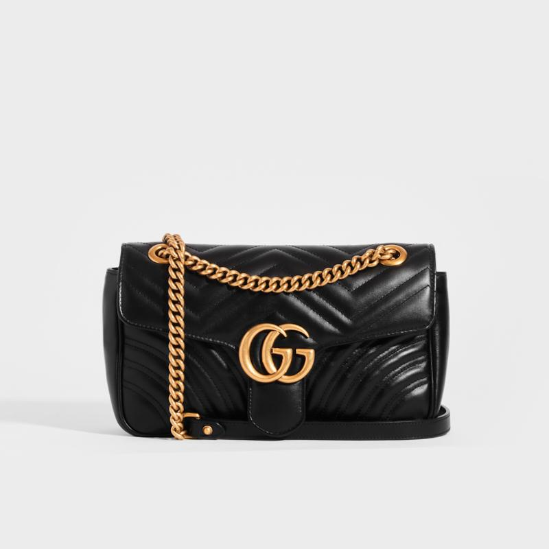 GUCCI GG Marmont Small Matelassé Shoulder Bag in Black