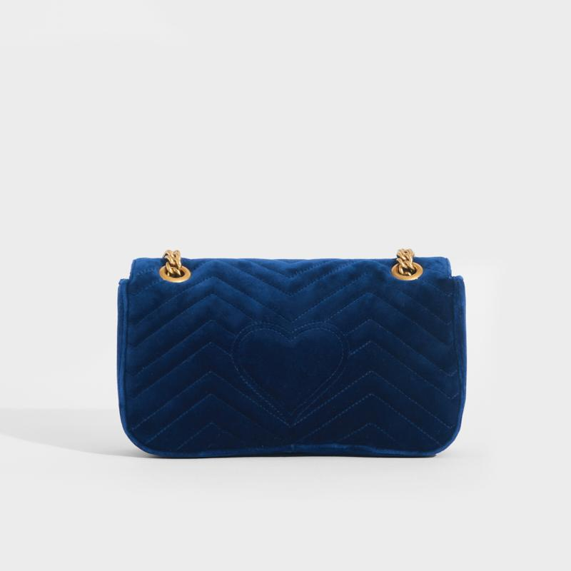 GUCCI GG Marmont Small Velvet Shoulder Bag in Blue