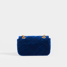 Load image into Gallery viewer, GUCCI GG Marmont Velvet Shoulder Bag in Blue