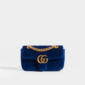 GUCCI GG Marmont Velvet Shoulder Bag in Blue