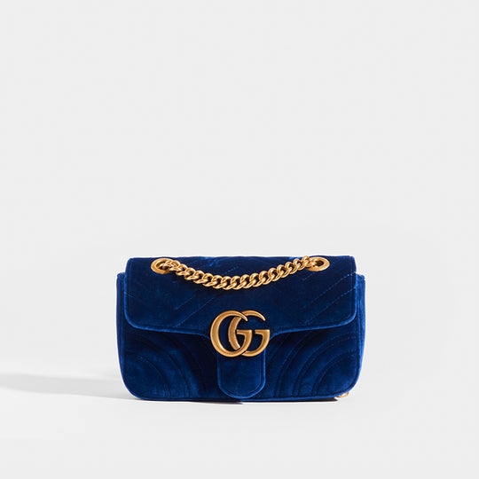 GUCCI GG Marmont Mini Velvet Shoulder Bag in Blue
