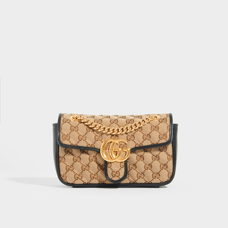 Front view of the GUCCI GG Marmont Mini Shoulder Bag in Original GG Canvas