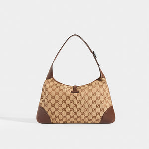 Rear view of GUCCI Vintage Jackie Small Canvas Handbag in Brown