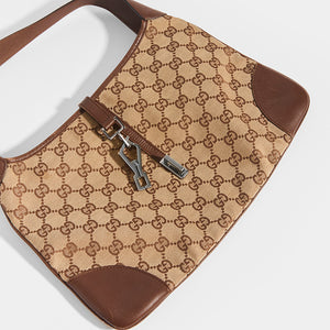 Detail of GUCCI Vintage Jackie Small Canvas Handbag in Brown