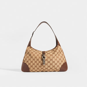 GUCCI Vintage Jackie Small Canvas Handbag in Brown - front view