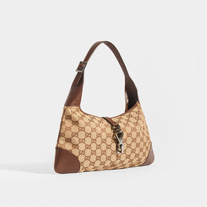 GUCCI Vintage Jackie Small Canvas Handbag in Brown